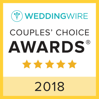 A couple's choice award badge from Wedding Wire for the year 2018. Five stars were awarded.