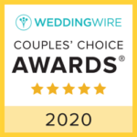 A couple's choice award badge from Wedding Wire for the year 2020. Five stars were awarded.