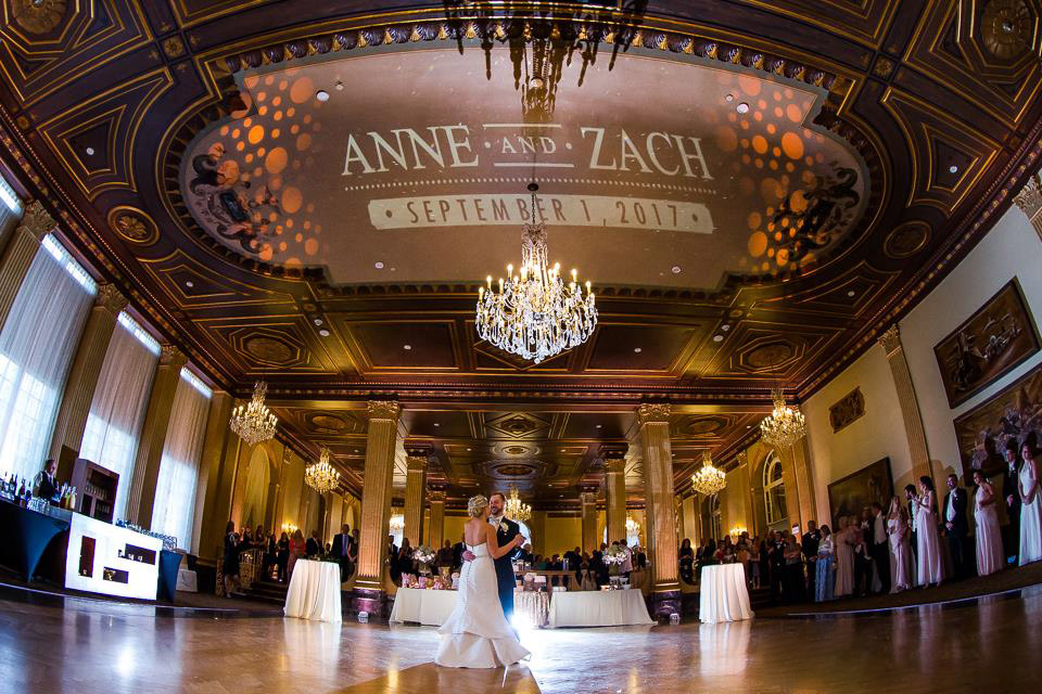 A custom projection of the Bride and Groom's names on a ballroom ceiling